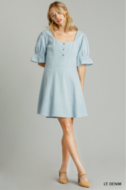 umgee  SWEETHEART NECKLINE BUTTON FRONT DRESS - Product Mini Image
