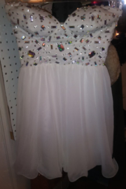 Deb Sweetheart Neckline Short White Dress with Rhinestones - Front cropped