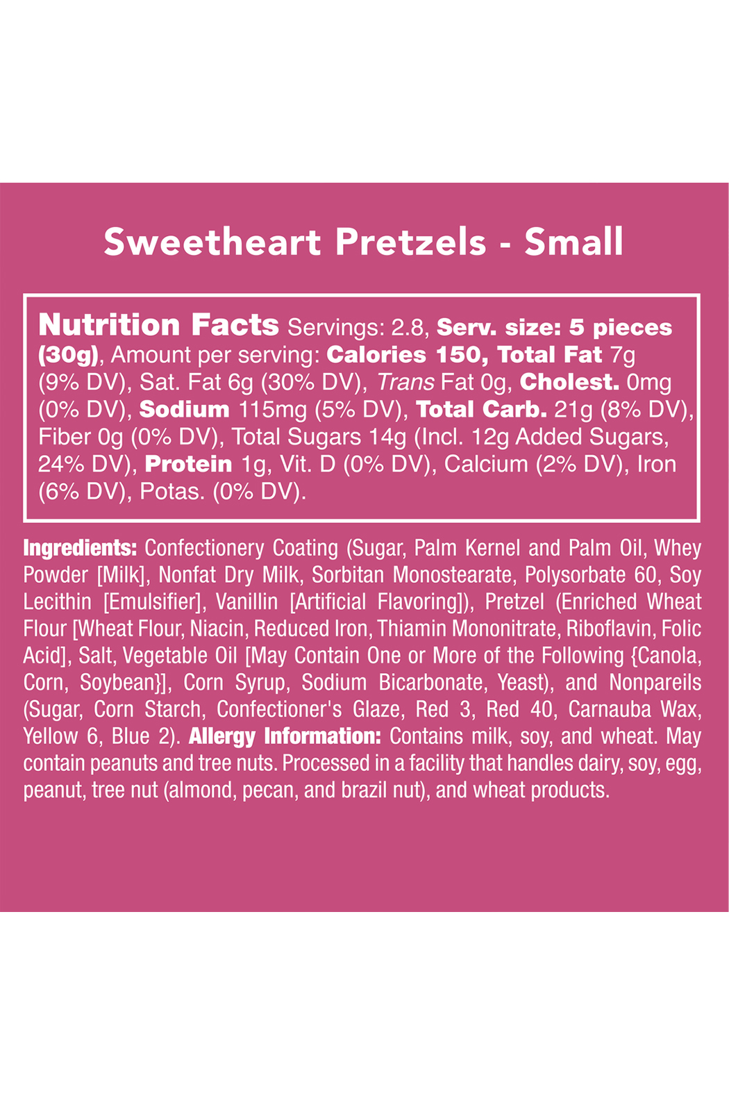 Candy Club Sweetheart Pretzels 3oz - Side Cropped Image