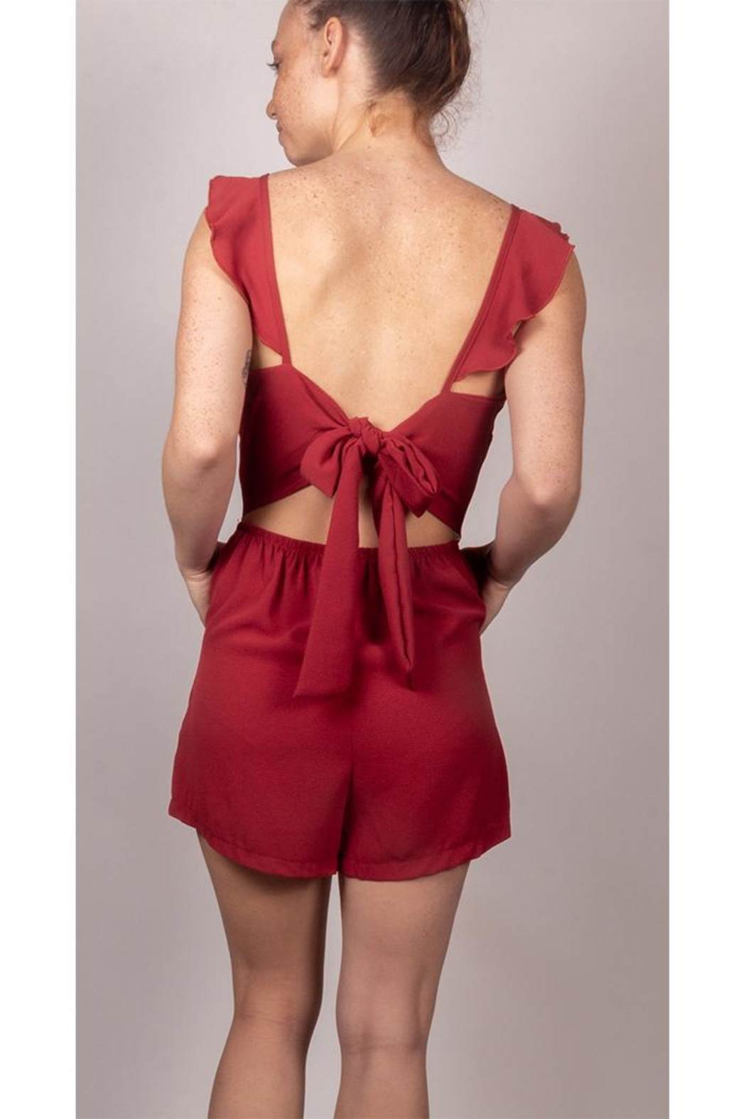 Cefian Sweetheart Red Romper - Front Full Image