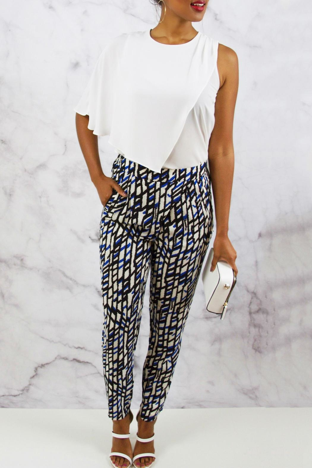 SWEEWE Printed Crepe Pants - Side Cropped Image