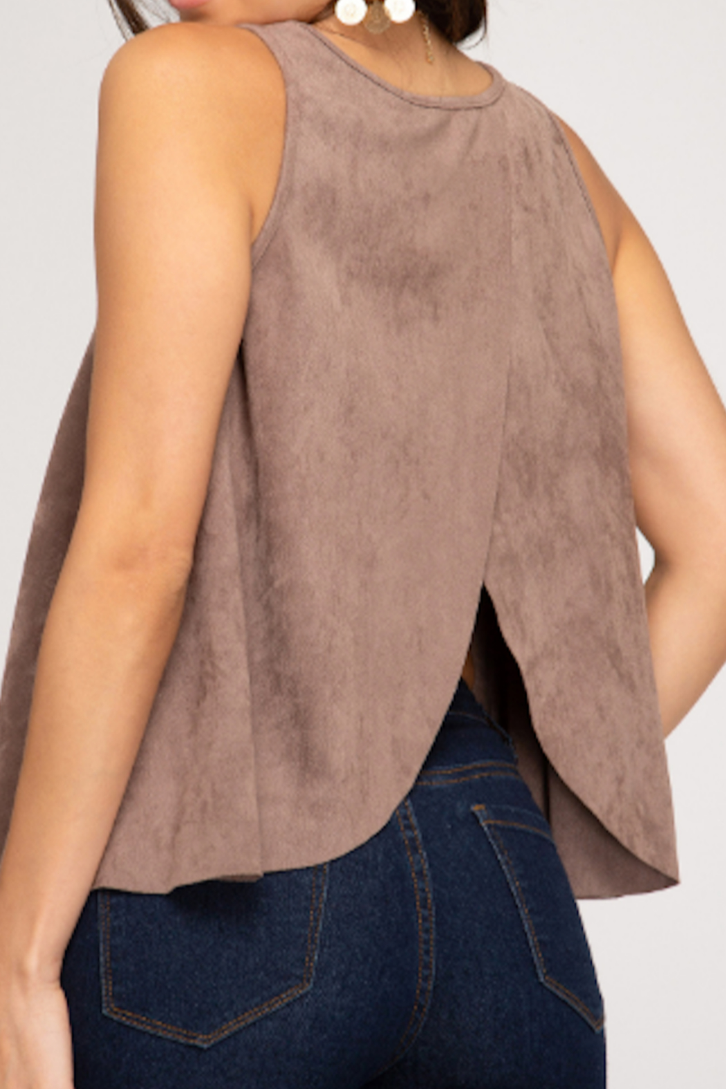 She and Sky Swing Back Suede Tank - Front Full Image