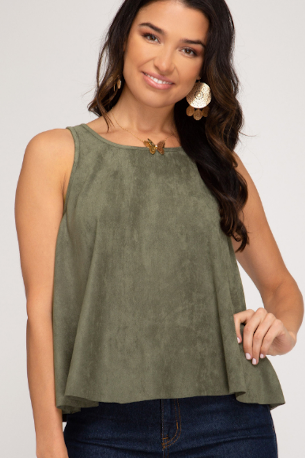 She and Sky Swing Back Suede Tank - Main Image