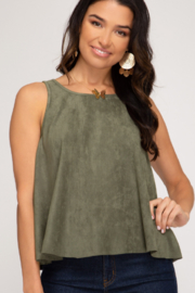 She and Sky Swing Back Suede Tank - Front cropped