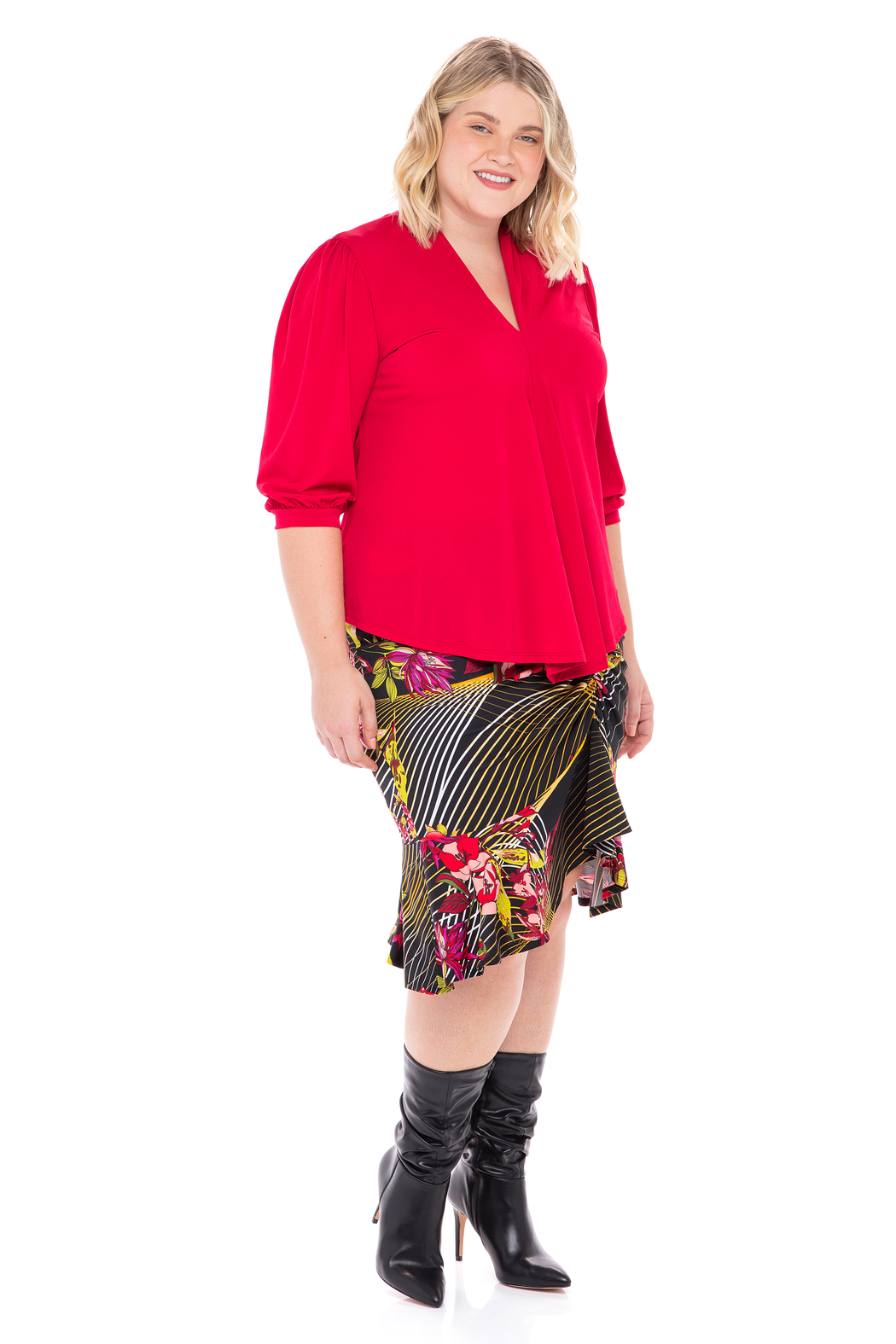 VKY & CO Swing Top V-Neck - Front Cropped Image