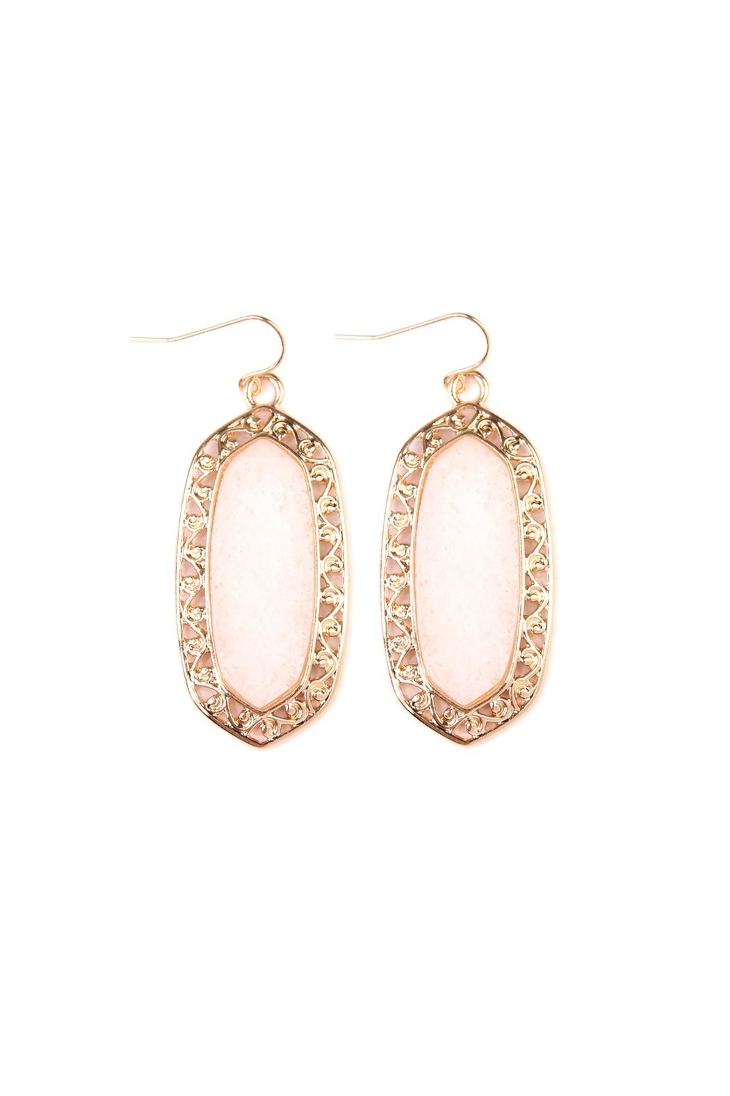 Riah Fashion Swirl-Edge Natural-Stone Drop-Earrings - Front Cropped Image