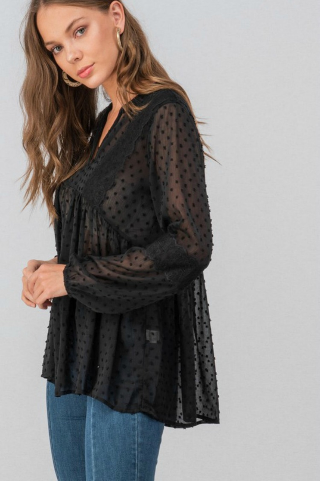 Trend:notes SWISS DOT BLOUSE - Side Cropped Image