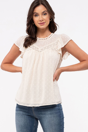 blue pepper  Swiss Dot Flutter Sleeve with Lace Detail - Product Mini Image