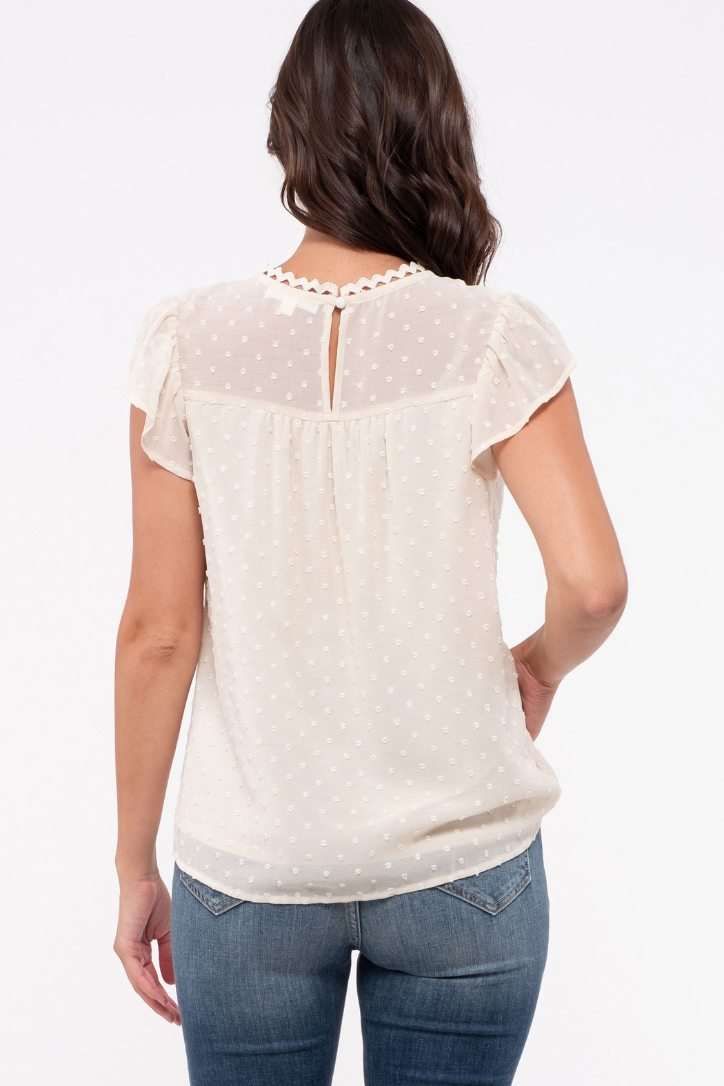 blue pepper  Swiss Dot Flutter Sleeve with Lace Detail - Front Full Image