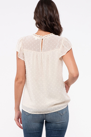 blue pepper  Swiss Dot Flutter Sleeve with Lace Detail - Front full body
