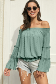 Shewin  Swiss Dot Off The Shoulder Top - Product Mini Image