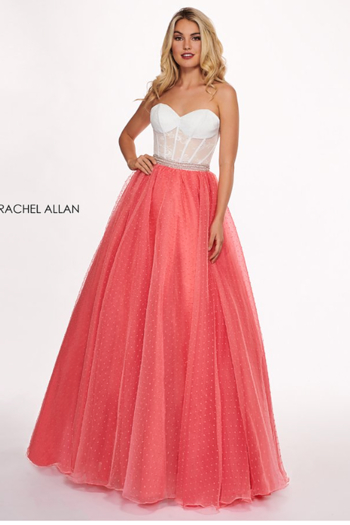 Rachel Allan Swiss Dot Strapless A-Line Prom Dress, White Coral from Indiana by Judees of La Porte
