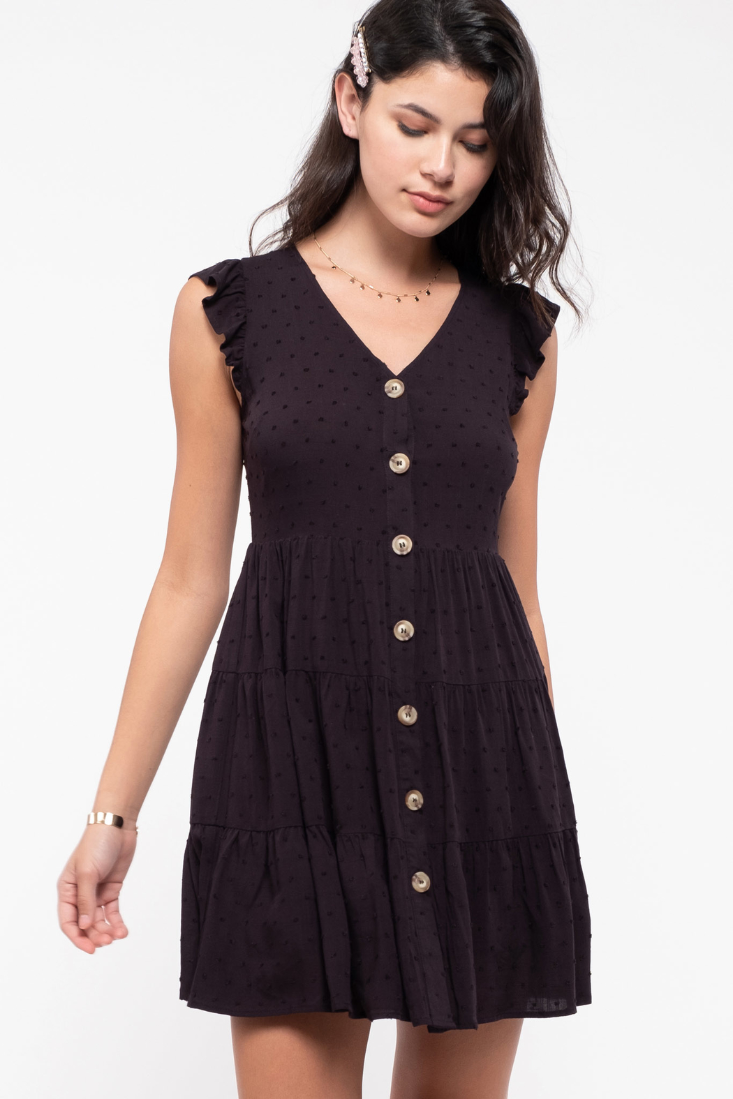 E & M  Swiss Dot Tiered Dress - Front Cropped Image
