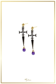 Malia Jewelry Sword Amethyst Earrings - Product Mini Image