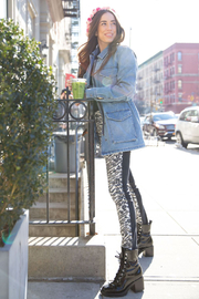 Blue Revival Sylvie Denim jacket w Lime Fur Lining - Product Mini Image