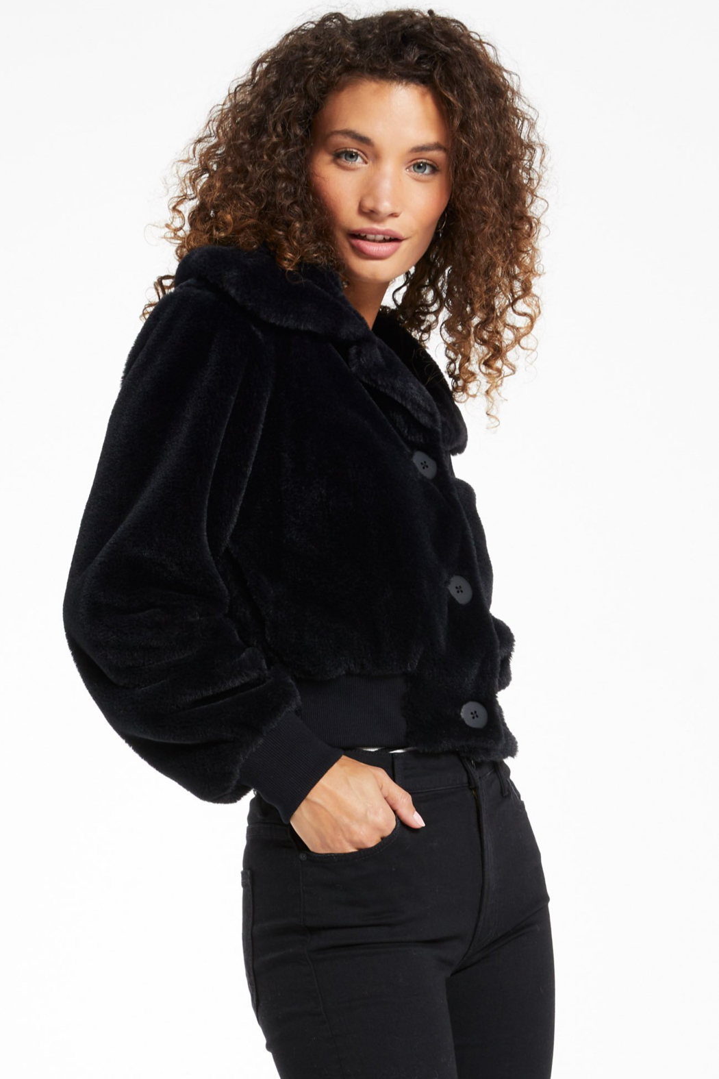 z supply Sylvie Snow Bomber Jacket - Side Cropped Image