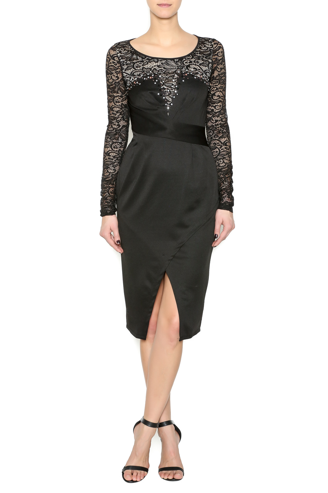 Symphoney Neck Lace Black Dress - Main Image