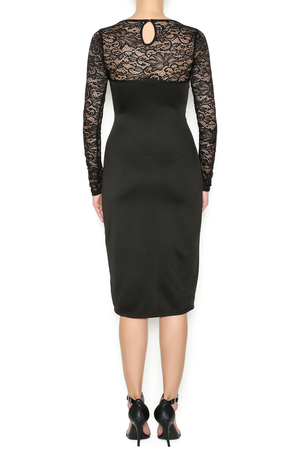 Symphoney Neck Lace Black Dress - Back Cropped Image