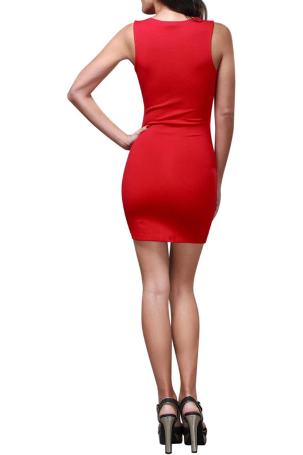 Symphony Deep V Bodycon Dress - Front Full Image