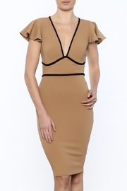 Symphony V-Neck Flutter Sleeved Dress - Product Mini Image