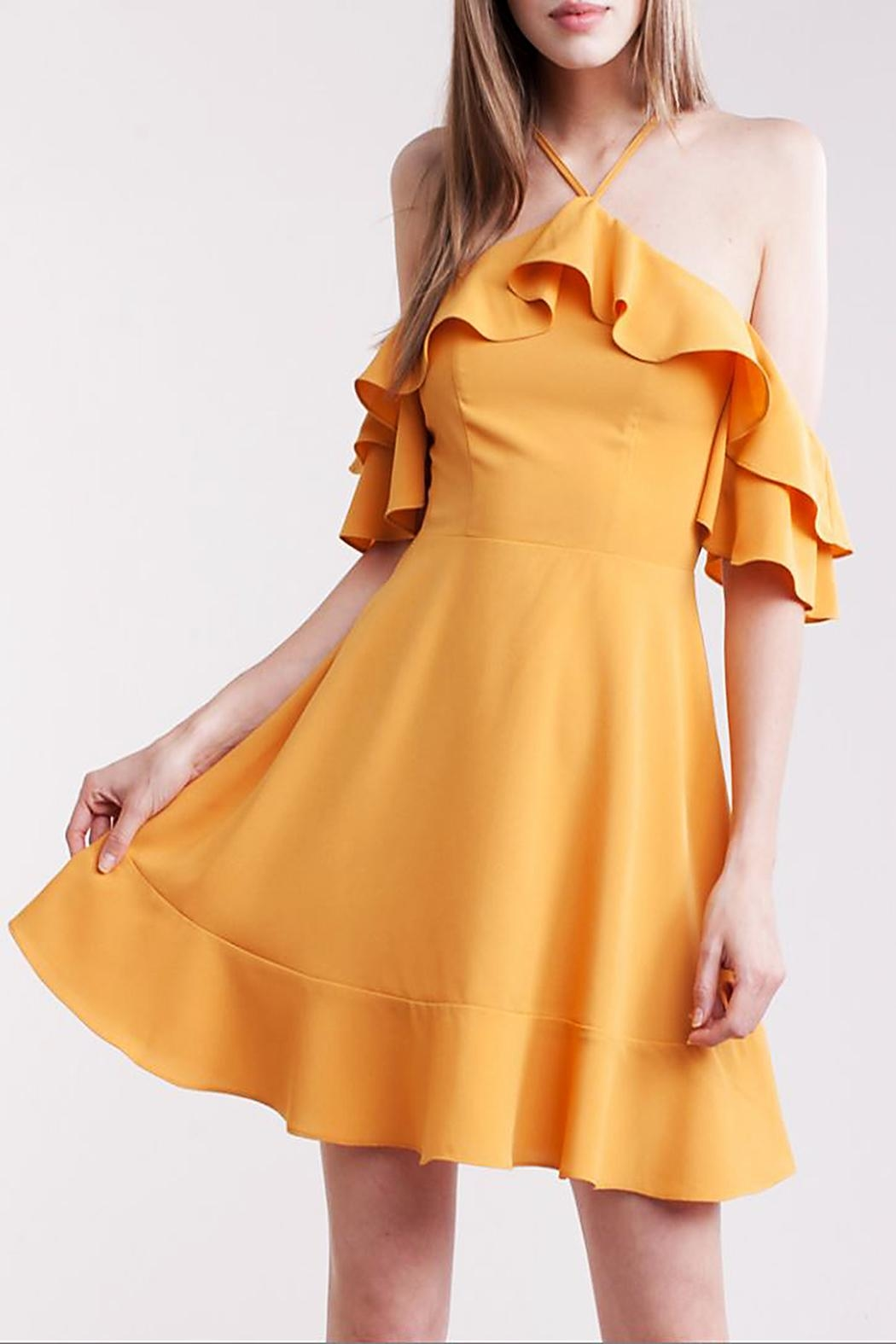 Symphony Open Shoulder Dress - Front Cropped Image