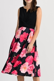 Joseph Ribkoff T-length dress, beautiful floral print with black polyester/spandex bodice - Product Mini Image