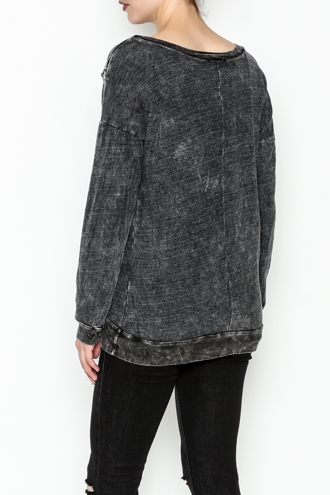 T. Party Mineral Wash Lace Sweatshirt - Back Cropped Image