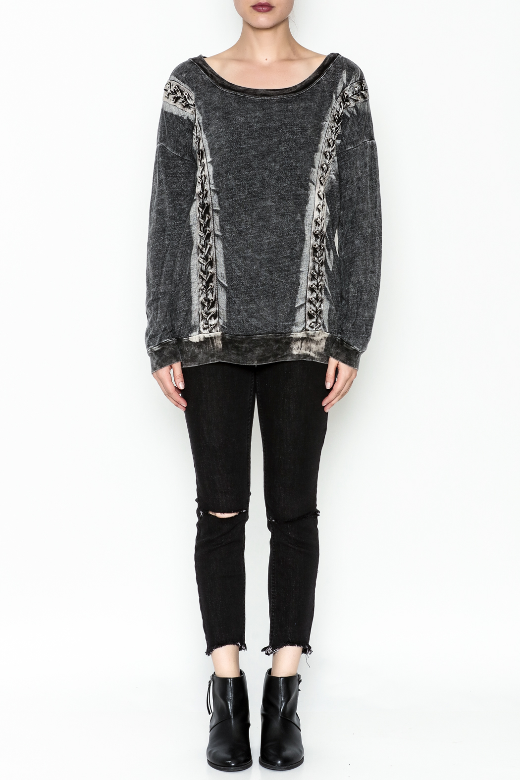 T. Party Mineral Wash Lace Sweatshirt - Front Cropped Image