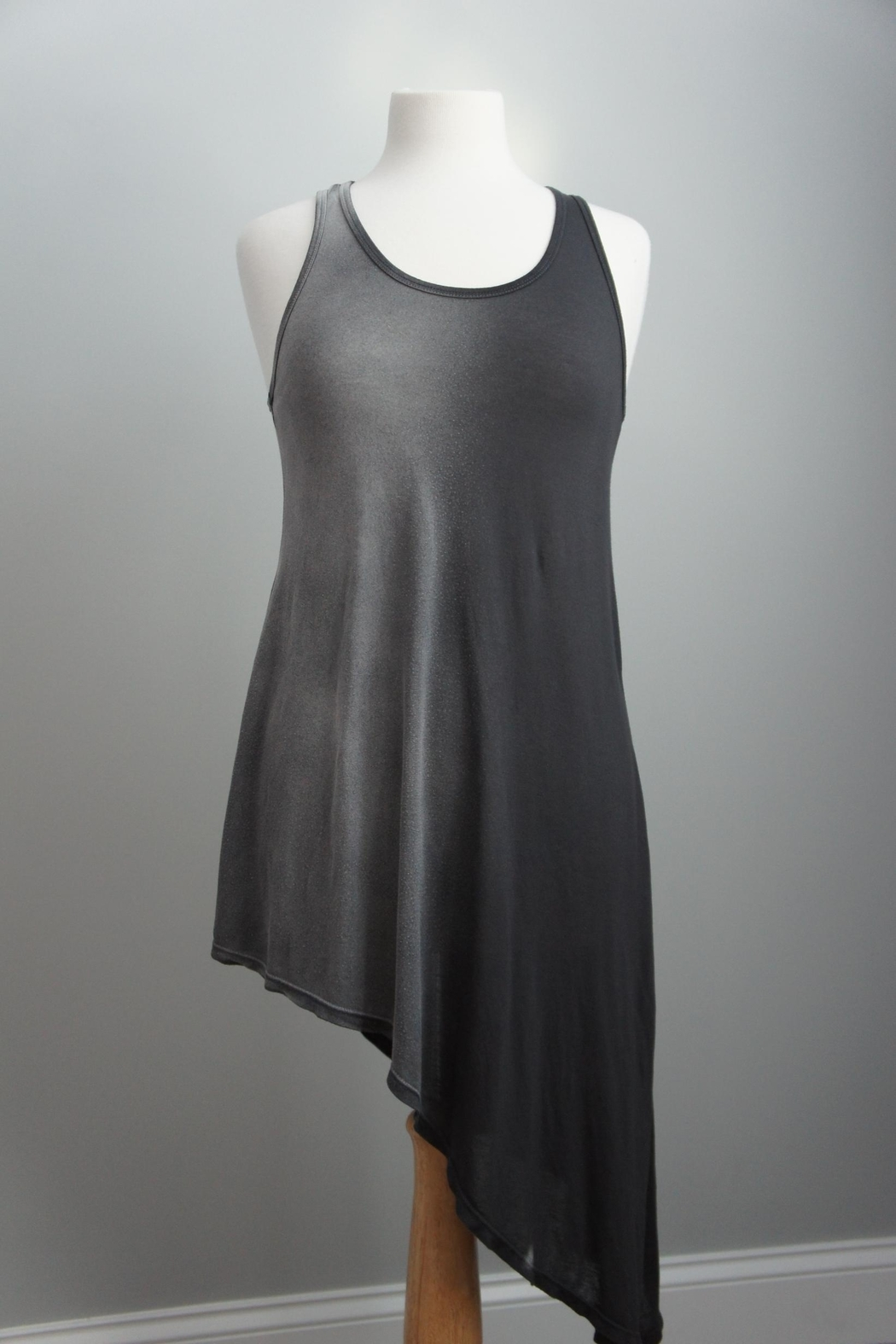T-Party Fashion Asymmetric Racerback T-Dress - Front Cropped Image
