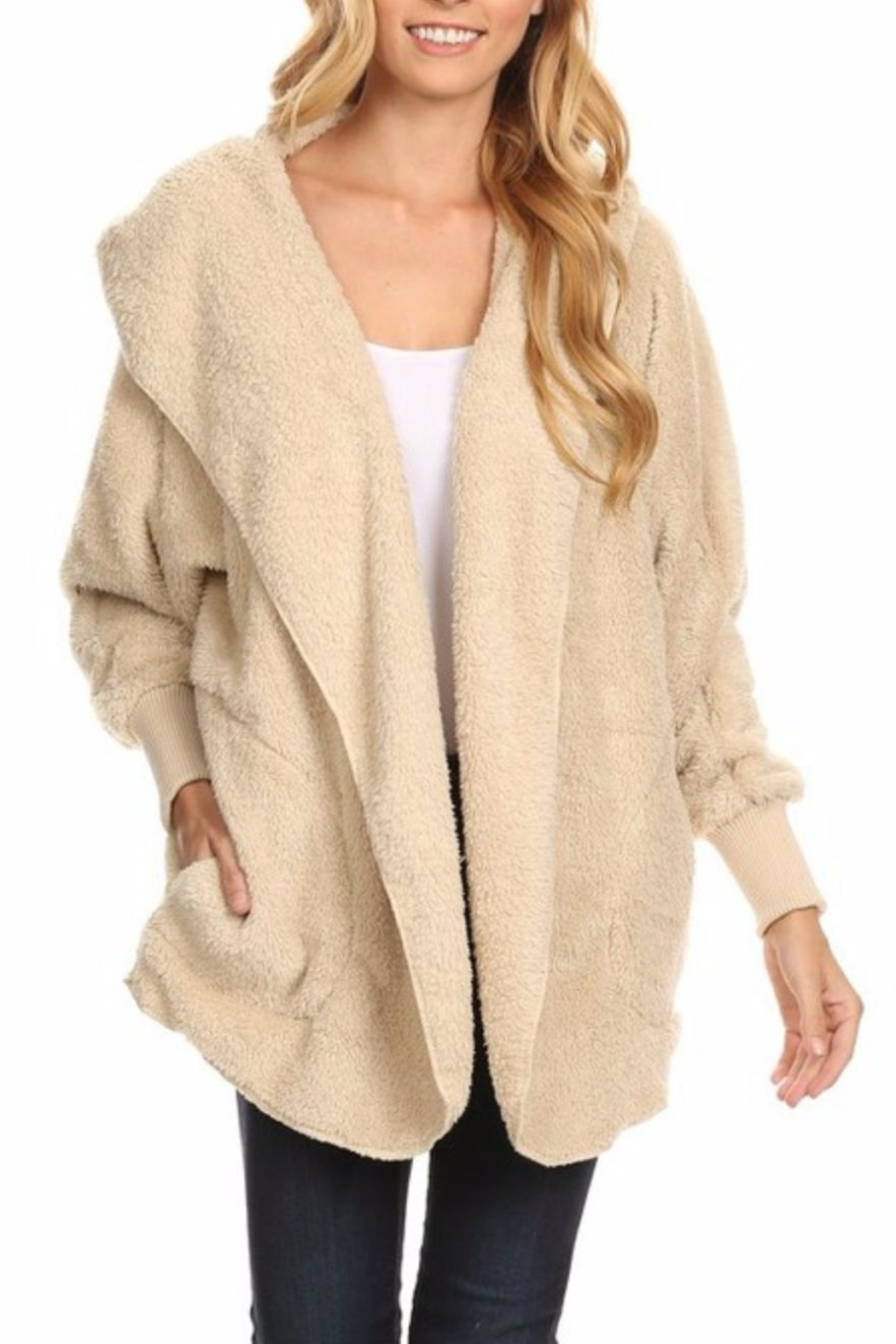 T-Party Fashion Fuzzy Hooded Jacket - Main Image