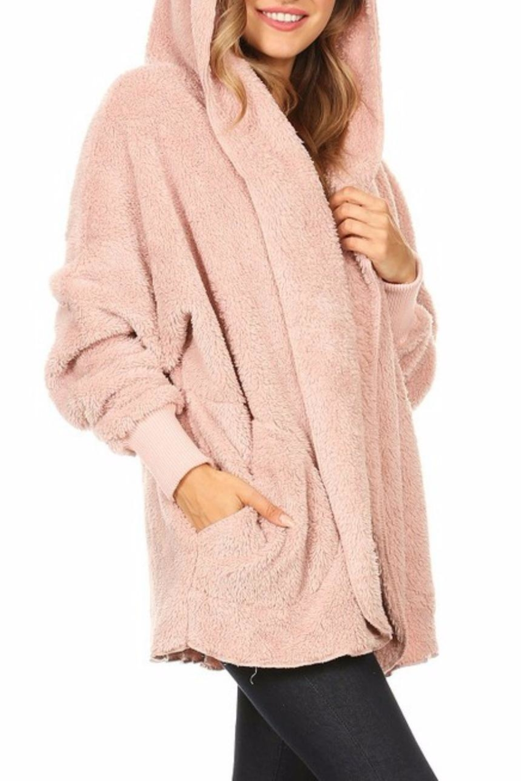 T-Party Fashion Fuzzy Hooded Jacket - Side Cropped Image