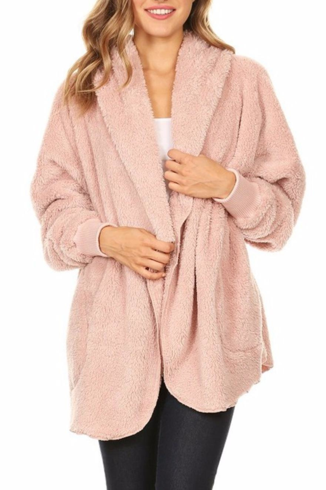 T-Party Fashion Fuzzy Hooded Jacket - Front Cropped Image