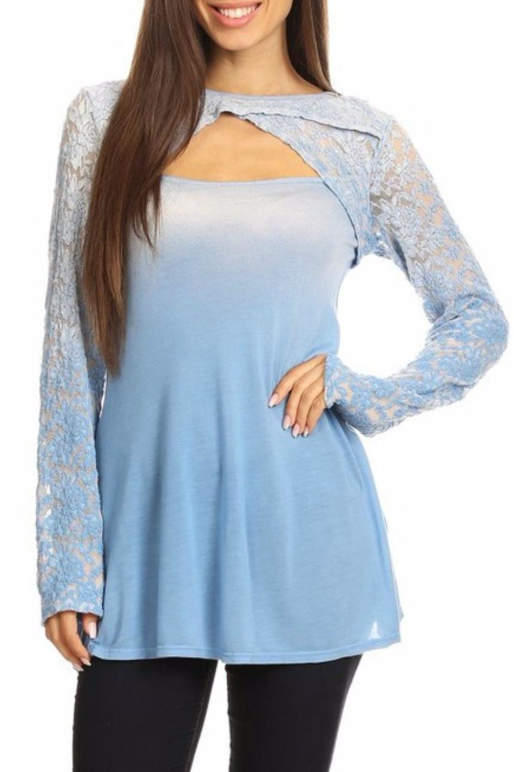 T-Party Fashion Lace Cutout Tunic - Front Cropped Image