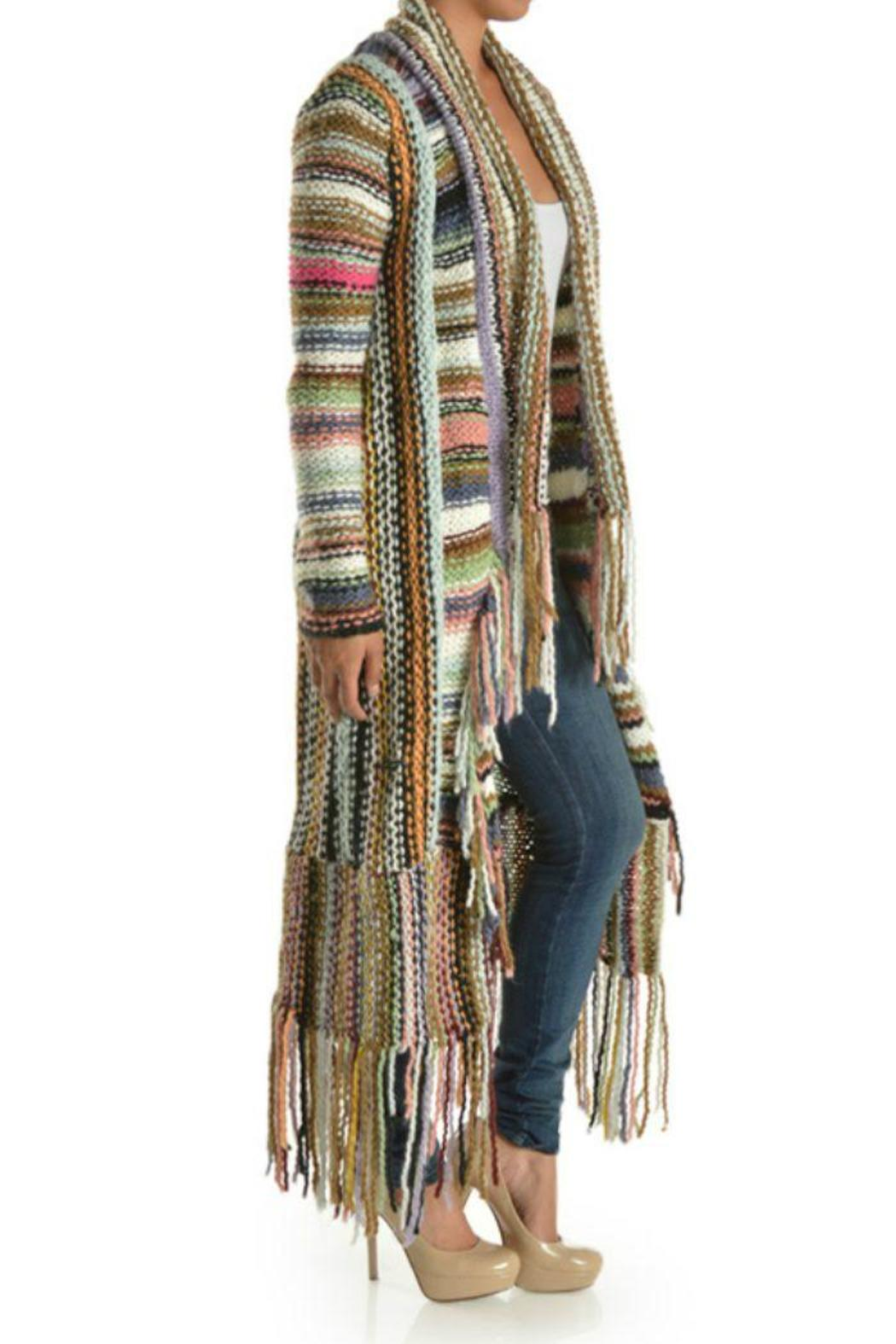 T-Party Fashion Multi-Color Knit Cardigan - Front Full Image