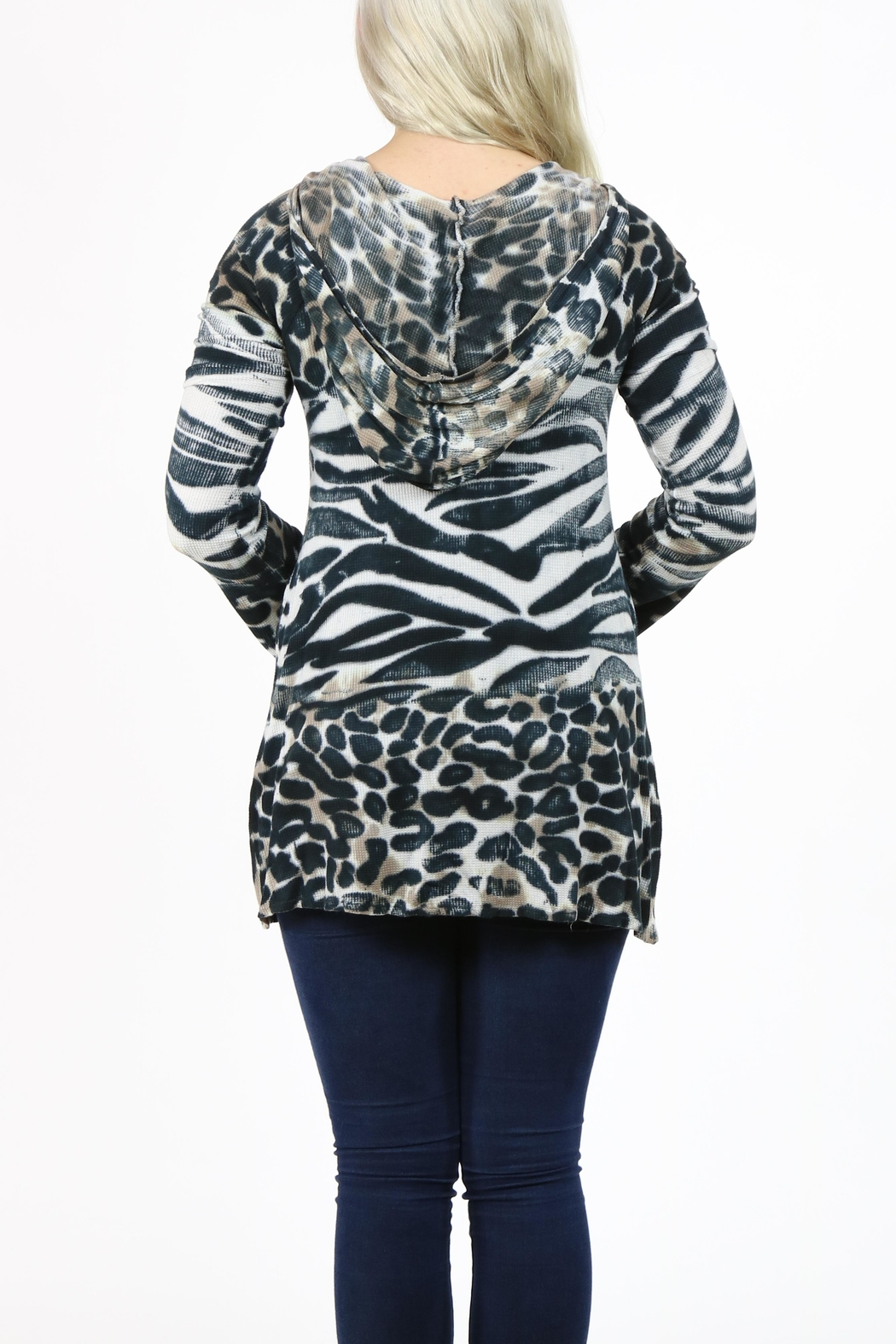 T-Party Fashion Print Hooded Tunic - Side Cropped Image