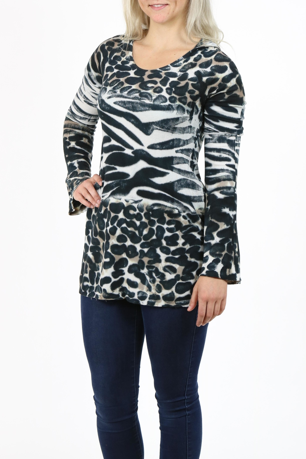 T-Party Fashion Print Hooded Tunic - Front Full Image