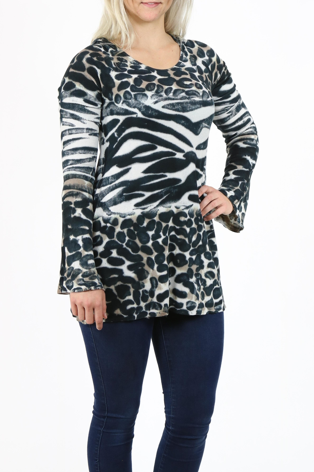 T-Party Fashion Print Hooded Tunic - Back Cropped Image