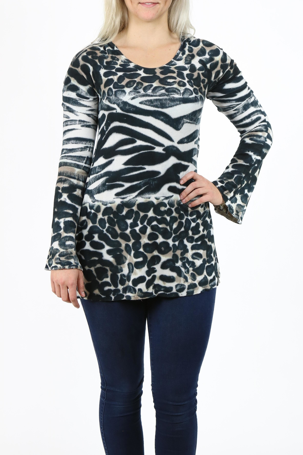 T-Party Fashion Print Hooded Tunic - Main Image