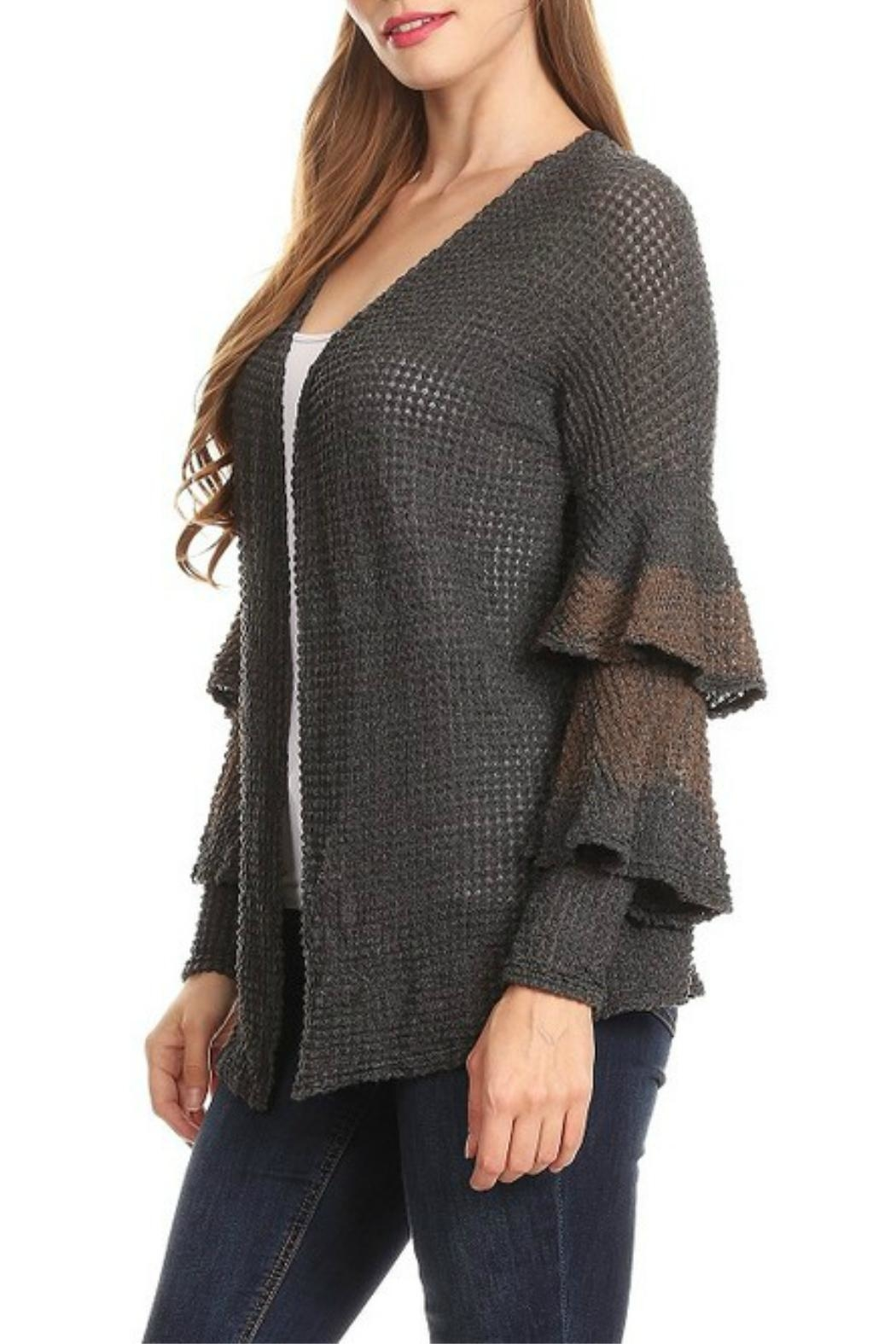 T-Party Fashion Ruffle Sweater Cardigan - Front Full Image