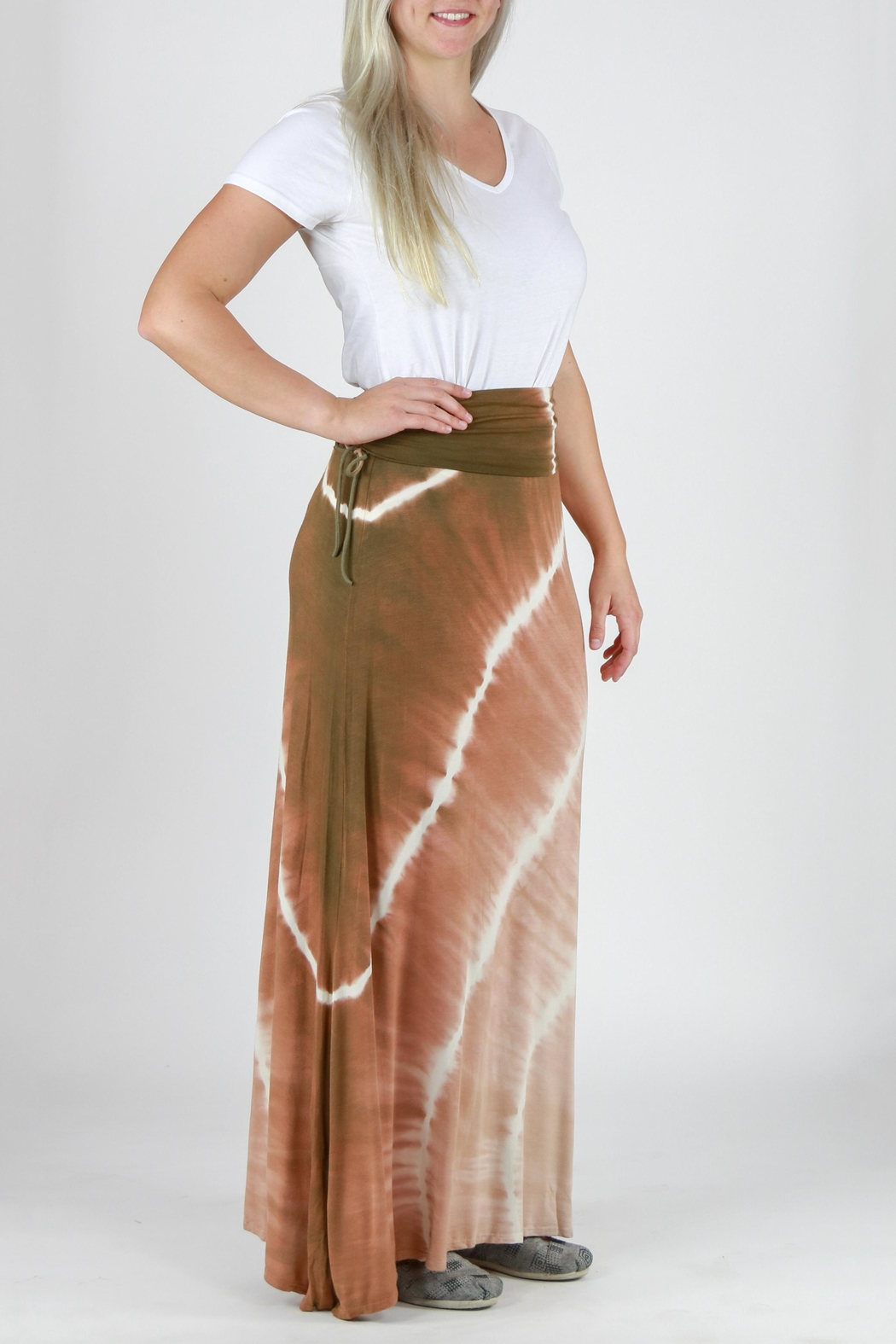 T-Party Fashion Tie Dye Maxi Skirt - Front Full Image