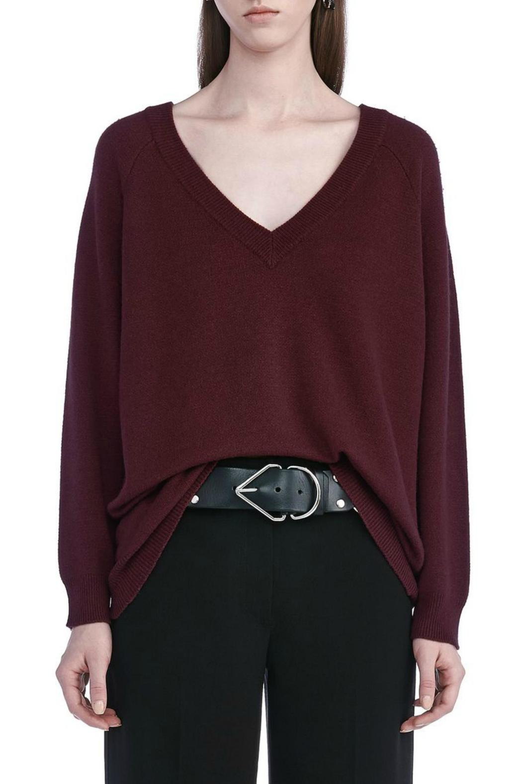 T by Alexander Wang Cashwool V Neck Sweater - Front Full Image