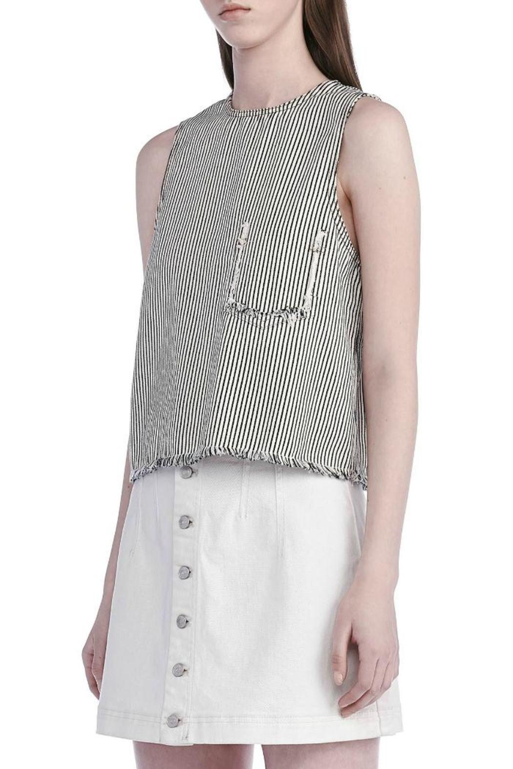 T by Alexander Wang Frayed Crop Top - Front Full Image