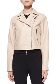 T by Alexander Wang Leather Motorcycle Jacket - Front cropped