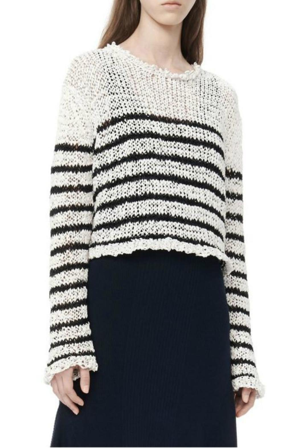 T by Alexander Wang Raw-Edge Cropped Pullover - Side Cropped Image
