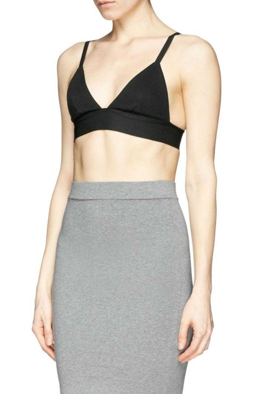 T by Alexander Wang Stretch Pique Triangle Bra - Side Cropped Image