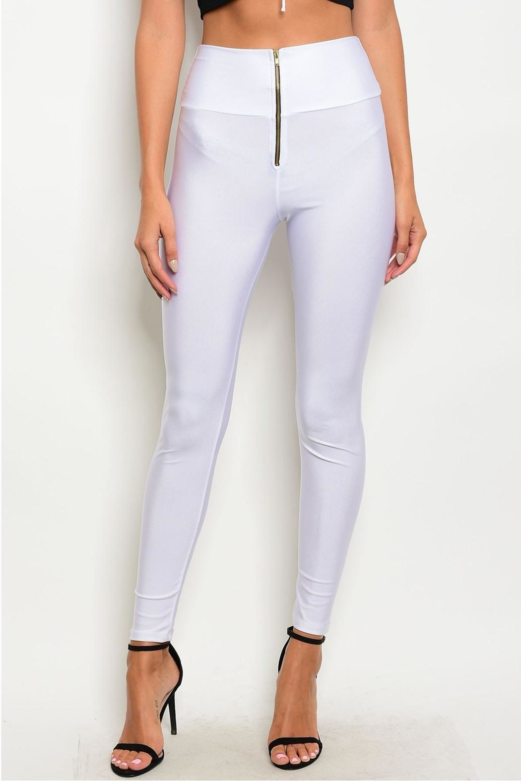 T Mani White Zip Leggings - Main Image