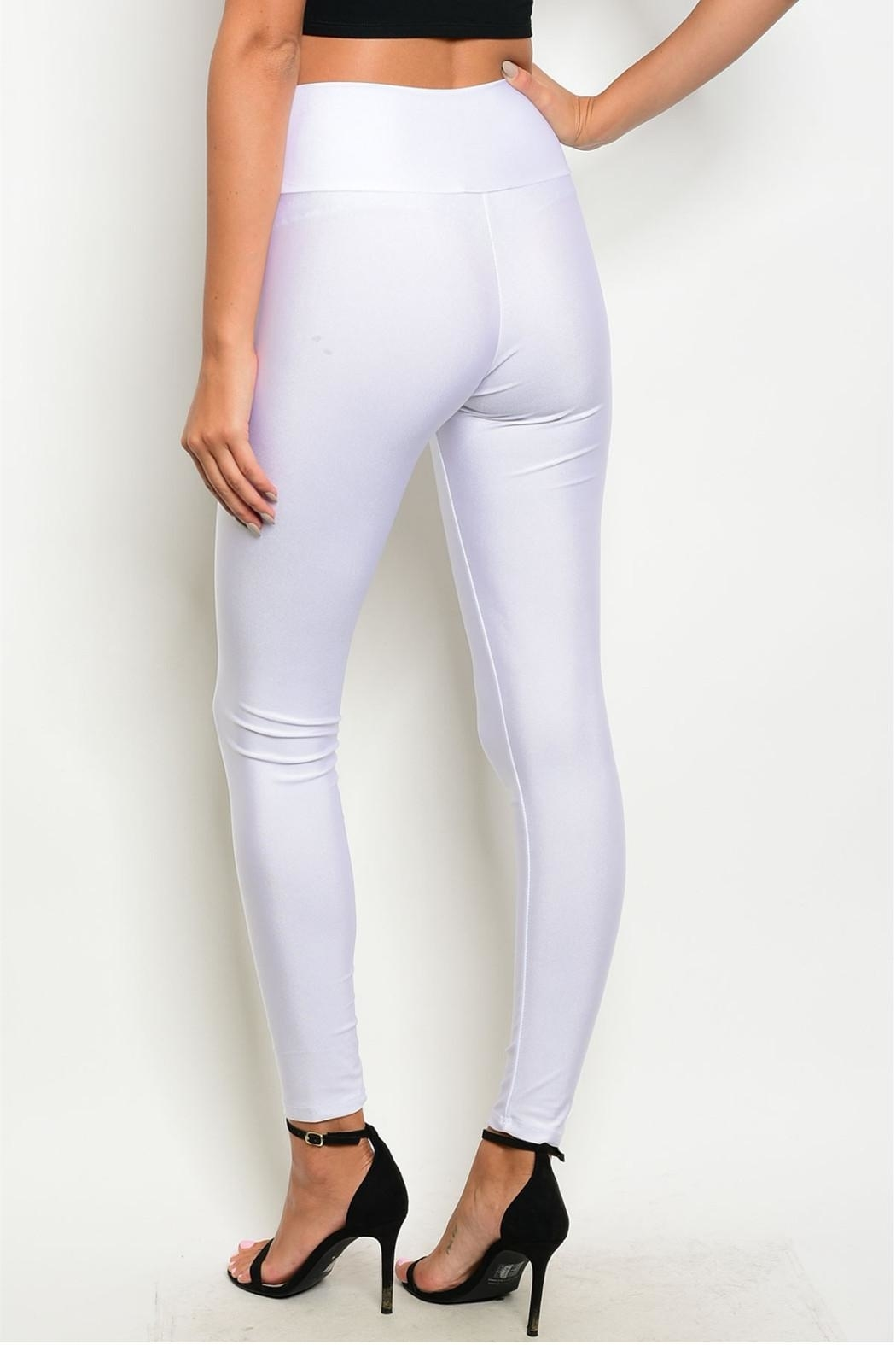 T Mani White Zip Leggings - Front Full Image