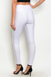 T Mani White Zip Leggings - Front full body