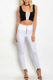 T Mani White Zip Leggings - Side cropped