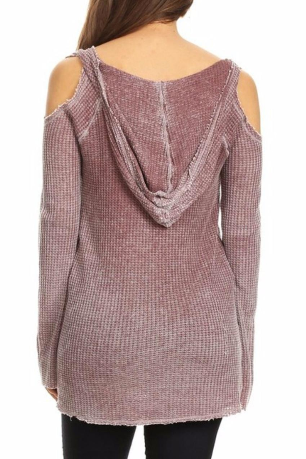 T Party Waffle Hoodie Tunic - Side Cropped Image
